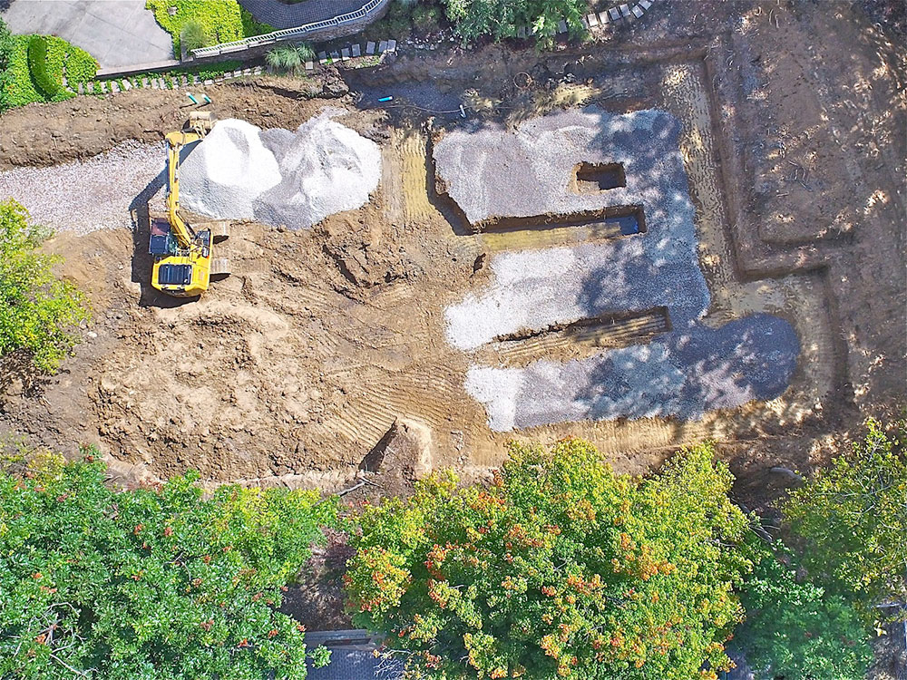 overhead site photo showing prep for foundation