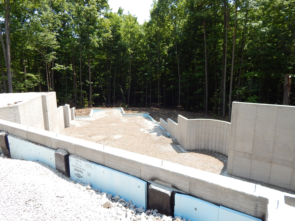 angle view of foundation in place